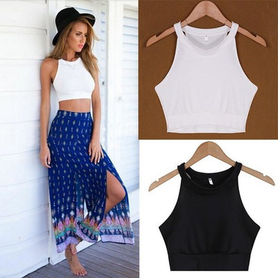 Women\'s Fashion Sleeveless O-Neck Sexy Slim Casual Solid Crop Top WSY