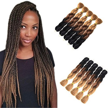 Inaly Ombre Braiding Hair Kanekalon Synthetic Braiding Hair Extensions Jumbo CrochetBraids 24inch 5pcs/lot Black-Dark Brown-Light Brown