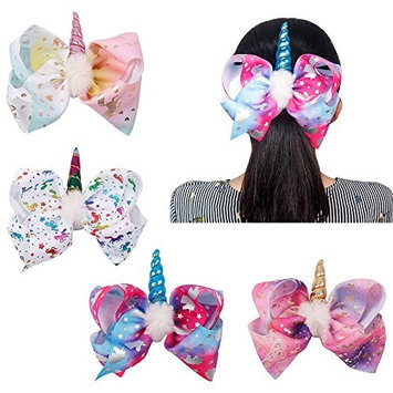 Oaoleer 8 inch Unicorn Cheer Bows for Girls Dogs Kids Grosgrain Ribbon Pig Tail Hair Bow with Alligator Clips (4pcs Unicorn Hair Bows)