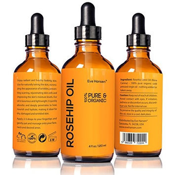 Eve Hansen 4oz Organic Rosehip Oil - BIG 4 OUNCE! - 100% Pure & Certified Organic Cold Pressed - SEE RESULTS OR YOUR MONEY-BACK - Heals Dry Skin, Fine Lines, Acne Scars, Eczema, Psoriasis, Sun Damage & More!