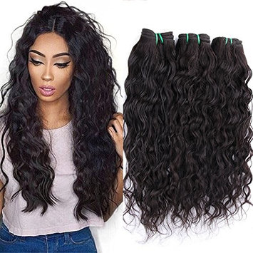 XCCOCO Hair Brazilian Water Wave Hair Bundles Weave 100% Unprocessed Virgin Human Hair Natural Black 95-100g/pc(12 14 16inch)