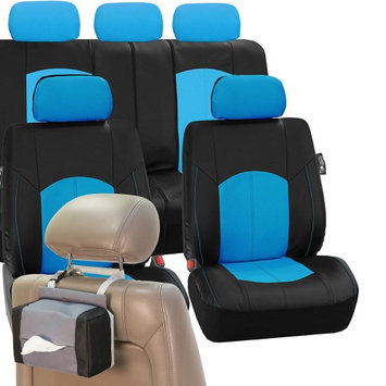 Fh Group PU Leather Car Seat Covers Complete Blue Free Gift Tissue Dispenser