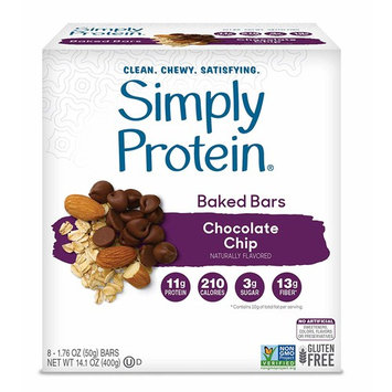 SimplyProtein Baked Bar Singles. Clean, Dairy Free and Gluten Free Baked Bars with Plant Based Protein. (8 Pack, Chocolate Chip)