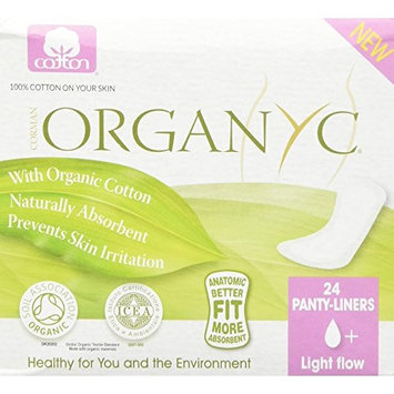 Organyc 100% Organic Cotton Panty Liners for Sensitive Skin, LIGHT, 24 count