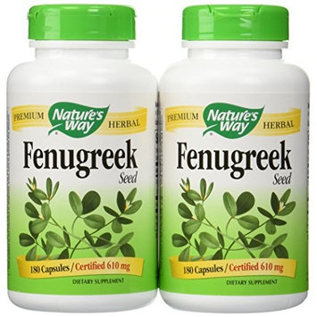 Natures Way Fenugreek Seed, 610 milligrams Per Cap, 180 Vegetarian Capsules. Pack of 2 bottles.
