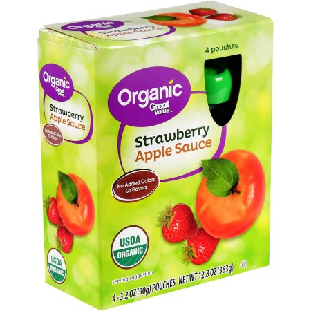 Wal-mart Stores, Inc. Great Value Organic Strawberry Applesauce, 3.2 oz, 4 pack