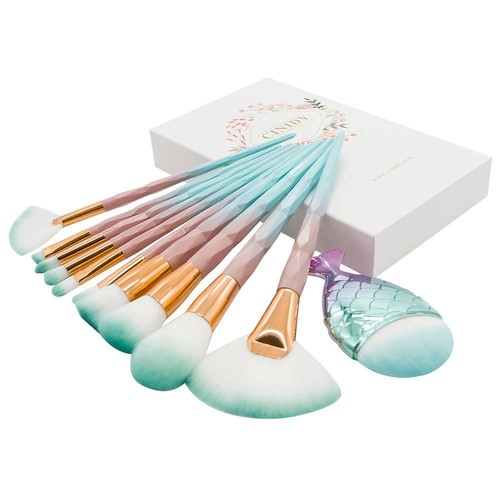 Cinidy Makeup Brushes Set 10pcs 3D Unicorn Premium Plastic Handle High Density Soft Nylon Bristles Kabuki Foundation Blush Eye Cosmetic Brushes with Exquisite Box (Green)