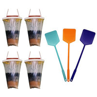 Non Toxic Fly Trap 4 pack Free Fly Swatter