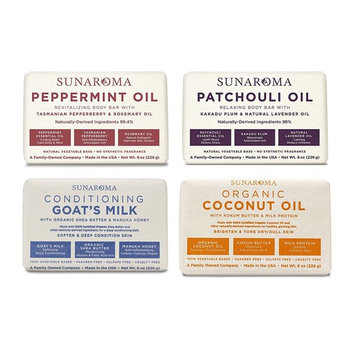 SUNAROMA Soap 4 Scents Variety Pack Body Bar w/ Coconut Oil, Peppermint Oil, Goat's Milk, Patchouli Oil