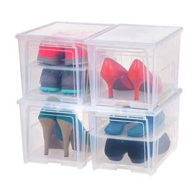 Iris - Easy Access Men's Shoe Box - 4 Pack - Clear