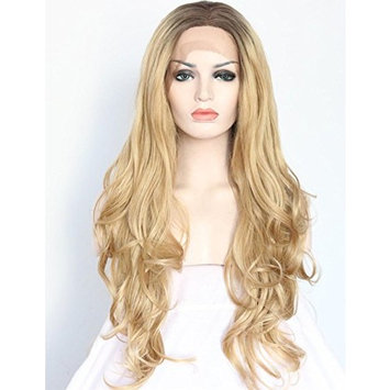 Realistic Looking Ombre Blonde Lace Front Synthetic Wigs Women's 2 Tones Brown Roots Long Wavy Lace Front Wig For Women 24 inches