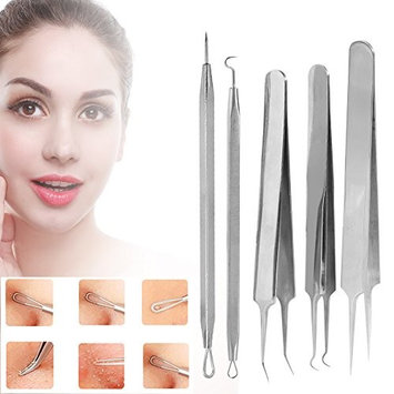 Acne Pimple Comedone Extractor, 5Pcs Curved Clips Facial Care Skin Protect Whitehead Blackhead Zit Removal Tool Kit Set With Silver Metal Case