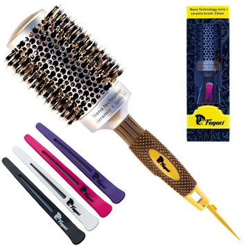 Fagaci Round Brush for Blow Drying with Natural Boar Bristle, Professional Round Hair Brush Nano Technology Ceramic + Ionic for Hair Styling, Drying, Healthy Hair and Add Volume + 4 Styling Clips