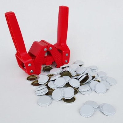 Red Baron Bottle Capper with White Crown Oxygen Barrier Beer Bottle Caps (144...