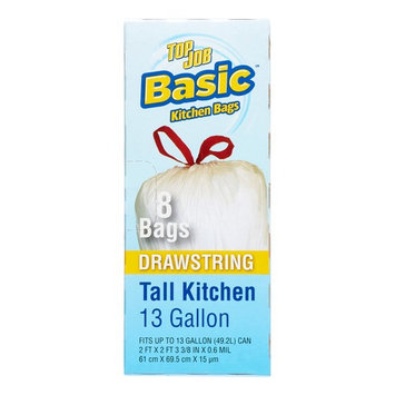 Top Job Basic Drawstring Tall Kitchen Trash Bags, 13 gal, 8 count