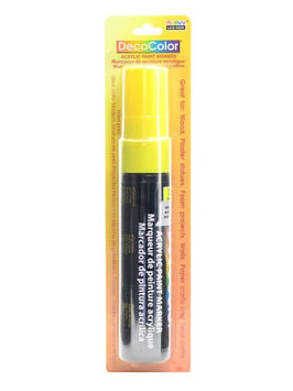 Marvy Uchida Decocolor Acrylic Paint Markers yellow, extra wide tip [pack of 3]