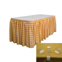 LA Linen SKTcheck21x29-15Lclips-DrkYellowK47 Polyester Gingham Checkered Table Skirt with 15 L-Clips White & Dark yellow - 21 ft. x 29 in.