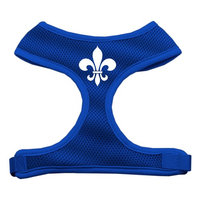 Mirage Pet Products 7012 SMBL Fleur de Lis Design Soft Mesh Harnesses Blue Small