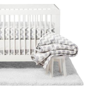 The Peanutshell Crib Bedding Set - Ellie Chevron - 5pc - Gray