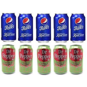 Real Sugar Soda Bundle of Ten Cans: Five 12 FL Oz Cans of Dr. Pepper with Real Sugar, and Five 12 FL Oz Cans of Pepsi with Real Sugar