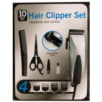 bulk buys Od361 Hair Clipper Set With Precision Steel Blades, Black/Silver, 4 Count