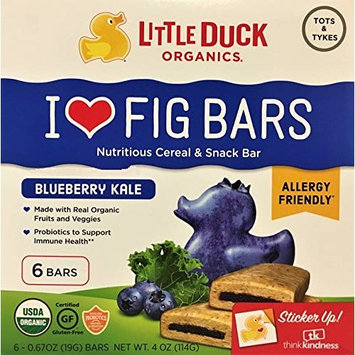 Little Duck Organics I Love Fig Bars Nutritious 100% Organic Cereal & Snack Bar 1 Pack, 4 oz (Bluberry Kale, 1 Pack)