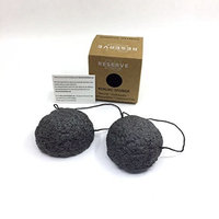 Konjac Facial Sponge - by Reserve Unlimited | 2 All Natural Facial Sponges | Exfoliating Sponge | Charcoal Konjac Sponge For Healthier Looking Skin