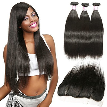 Beauty Forever Brazilian Straight Hair with Frontal Closure, 7A Virgin Hair Straight Hair Bundles with Lace Frontal, 13×4 Ear to Ear Lace Frontal, Natural Color(10 12 14inch+10 Frontal, Free part)