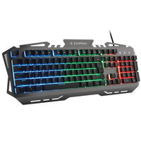 Cliptec 3 LED Rainbow Color Illuminated Backlight Multimedia USB Wired Gaming Keyboard Aluminum Base