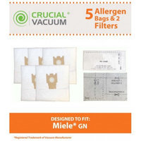 5 Miele FJM Cloth Bags & 2 Filters fit Miele Series S241-S256i, S290-S291, S300i-S399, S500-S578, S700-S758 and S4000-S4999; Part # 780510000010; Designed & Engineered by Crucial Vacuum