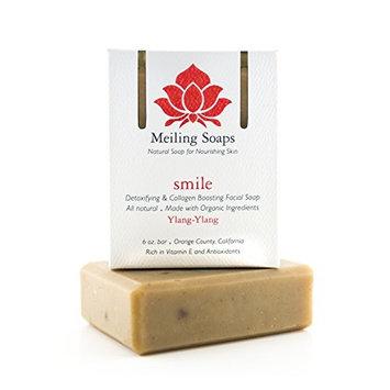 Smile – Organic Facial Soap Bar w Organic Ylang-Ylang Essential Oil , Collagen Boosting & Detoxifying 6 Ounce Moisturizing Organic Facial Soap Bar by Meiling Soaps