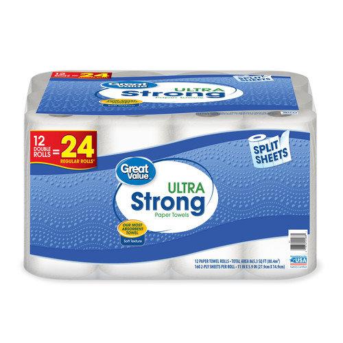 Great Value Ultra Strong Paper Towels, Split Sheet, 12 Double Rolls