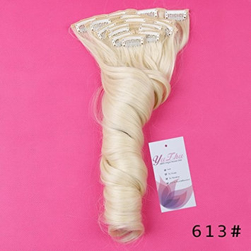 Clips in Hair Extensions 8 pieces 150g Long Wavy Synthetic High Temperature Hair Hairpieces for Women 60CM (60cm, 613#)
