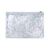 Shaoge Sequins PVC Makeup Zipper Pouch Pencil Case Cosmetic Bag Clear Toiletry Holder,24x17cm