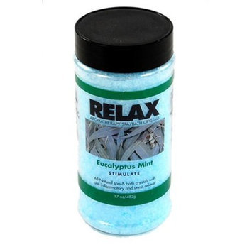 Relax Spa   Bath Eucalyptus Mint Aromatherapy Bath Salts -17 Oz- Natural Minerals for Soaking Aches, Pains & Stress Relief for Spa, Bath
