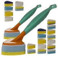 22pc Multi Purpose Kitchen Sponge Scrub Brush Set Handle Heads Cleaning Bathroom Refills Dish Wash (Pack of 2)