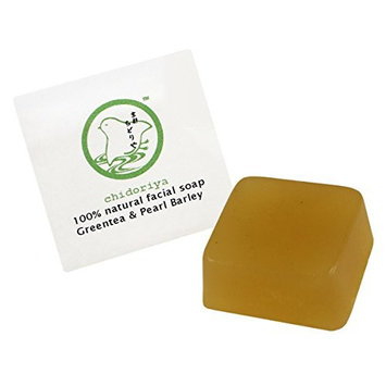 Chidoriya Organic Matcha Green Tea and Pearl Barley Facial Soap with Brown Sugar and Seaweed Powder for Trouble Skin, Great for Oily Mature Blemish Prone and or Combination Skin Types, 0.5 Ounces