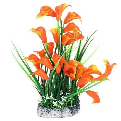 Fish Tank Morning Glory Accent Water Plant Grass Decor Orange Green 24cm High