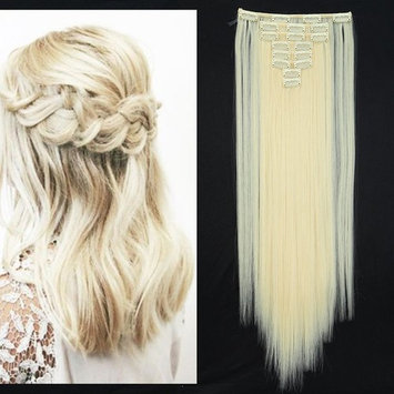 Pale Blonde Clip in Hair Extensions Synthetic Full Head Hairpieces Japanese Kanekalon Fiber Thick Long Straight Soft Silky 8pcs 18clips for Women Fashion and Beauty 26'' / 26 inch 88#