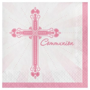 36ct Religious Blessings Pink Communion Napkins