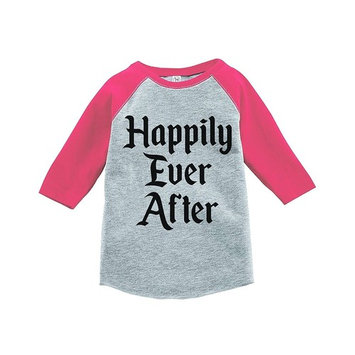7 ate 9 Apparel Girl's Happily Ever After Wedding Pink Raglan - YOUTH MEDIUM (10-12) [baby_clothing_size: baby_clothing_size-youthmedium(10-12)]