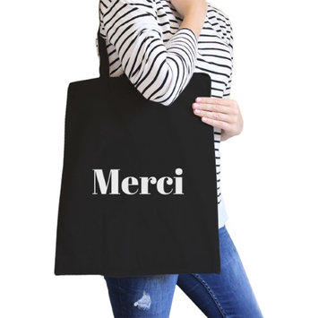365 Printing Inc Merci Black Canvas Bag BFF Birthday Gift Idea Trendy Tote Bags