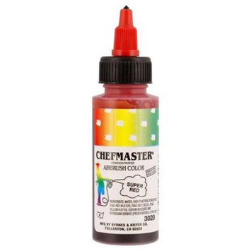 Chefmaster 2-Ounce Super Red Airbrush Cake Decorating Food Color