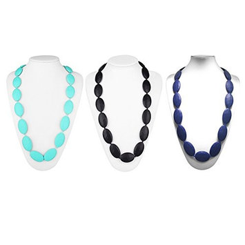 Silicone Teething Necklace, Baby Teether Infant Tooth Massage Training BPA Free, Fun Gift Idea for Mom, 3 Color Available-Blue