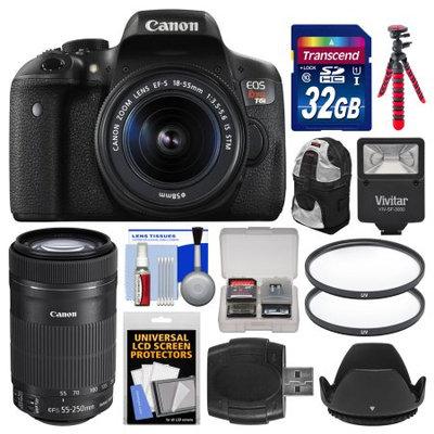 Canon EOS Rebel T6i Wi-Fi Digital SLR Camera & EF-S 18-55mm IS STM Lens with 55-250mm IS STM Lens + 32GB Card + Case + Flash + Tripod + 2 Filters + Kit