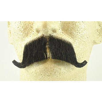 Colonel Major Moustache BLACK - 100% Human Hair - no. 2014 - REALISTIC! Perfect for Theater - Reusable!