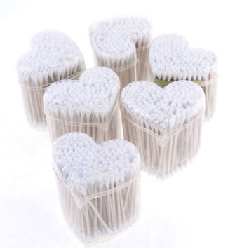 uxcell® 6 Heart Boxes 1080 Pcs Wood Rod White Double Ended Cotton Buds