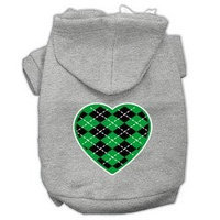 Mirage Pet Products Argyle Heart Green Screen Print Pet Hoodies Grey Size Med (12)