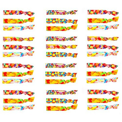 No Crease Hair Ties for Little Girls – Cute Candy Printed Ponytail Holders (36 Pack) | Colorful Hair Bands Ribbons Accessories for Kids - Elastic Stretchy | Great Party Favors Birthday Gift Idea
