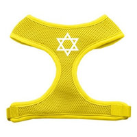 Mirage Pet Products Star of David Screen Print Soft Mesh Dog Harnesses, Large, Yellow